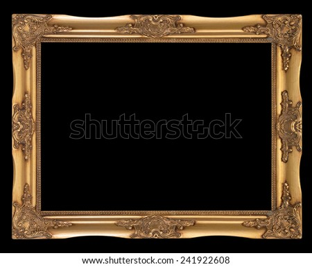 Black picture Frame Isolated on black Background - stock photo