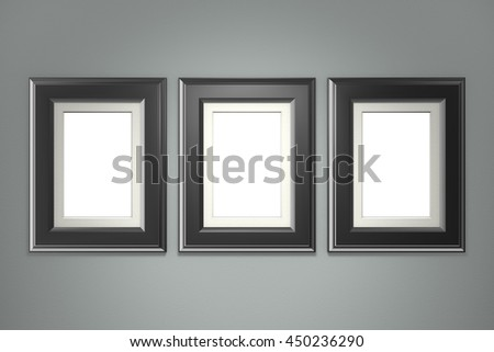 Black picture frame on gray wall background