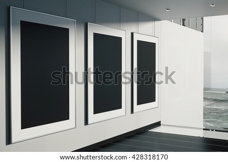 Black Picture Frames Room Concrete Wall Stock Illustration 428318170 ...