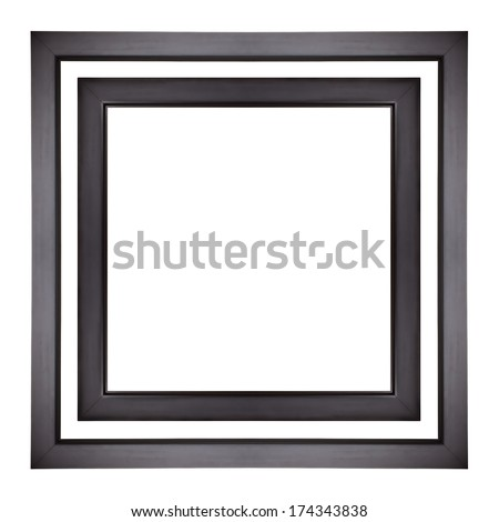 Black picture frames isolated - stock photo