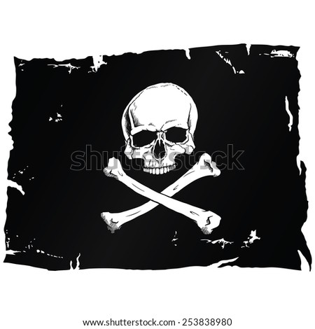 Black pirate flag with skull and bones - stock photo