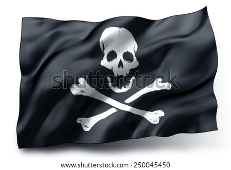 Black pirate flag with skull and crossbones symbol isolated on white background - stock photo