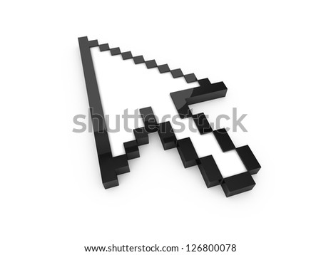 Black pixel arrow cursor, pointer with reflection, isolated on white background.