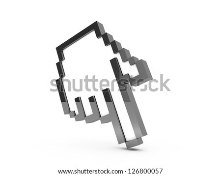 Black pixel hand cursor, pointer with reflection, isolated on white background.