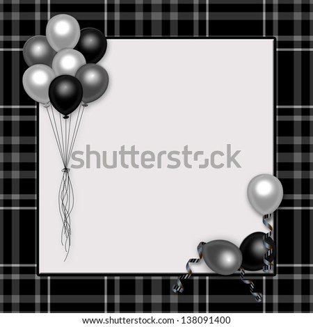 """Black plaid with gray/silver balloons background ideal for celebrations especially """"over the hill"""" - stock photo"""