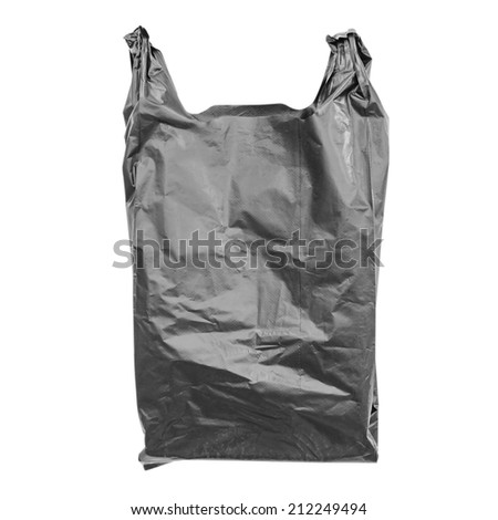 Black plastic bag isolated on white with clipping path. - stock photo