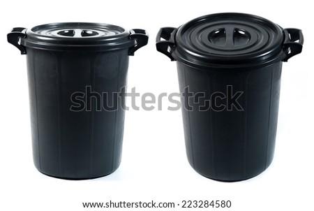 black plastic bin on white background - stock photo