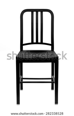 black plastic chair isolated on white background - stock photo