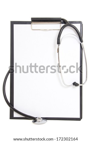 black plastic clipboard with blank paper sheet and stethoscope  isolated on white background - stock photo