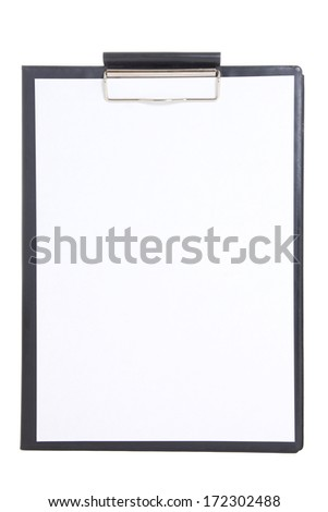black plastic clipboard with blank paper sheet isolated on white background