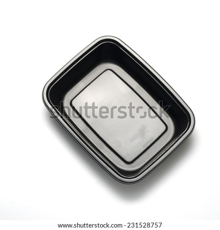 black plastic container on a white background