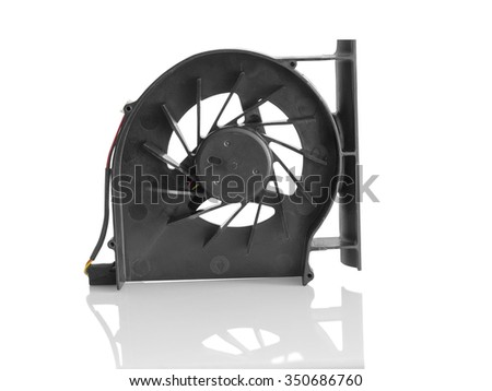 Black plastic CPU fan for notebooks isolated on white background - stock photo