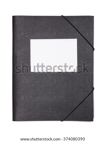 Black plastic document folder with blank label isolated on white - stock photo