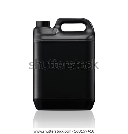 Black plastic gallon, jerry can  isolated on a white background.  (with clipping work path) - stock photo