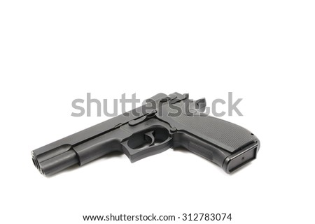 Black plastic gun isolated on white background - stock photo