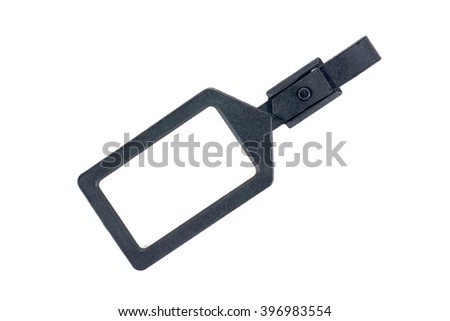 Black plastic luggage tag label isolated on white background - stock photo