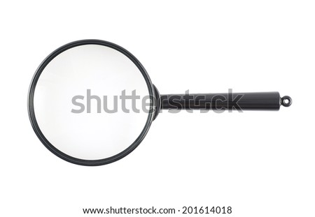 Black plastic office magnifying glass with a handle, isolated over the white background - stock photo