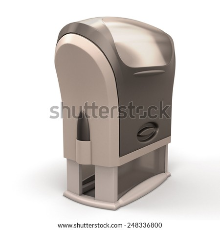 Black plastic stamp isolated on white background. 3d render image. - stock photo
