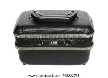 Black plastic suitcase isolated on white - stock photo