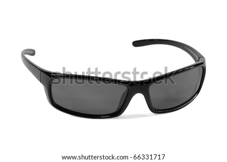 Black plastic sunglasses on a white background - stock photo