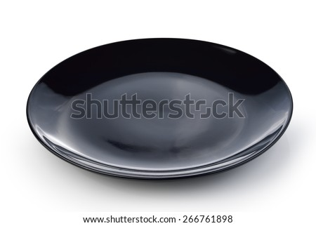 black plate isolated on a white background - stock photo