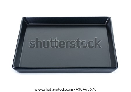 black plate isolated on a white background.