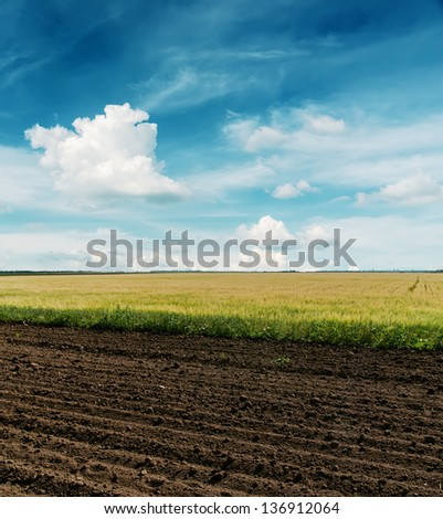 black plowed and green fields under cloudy sky - stock photo