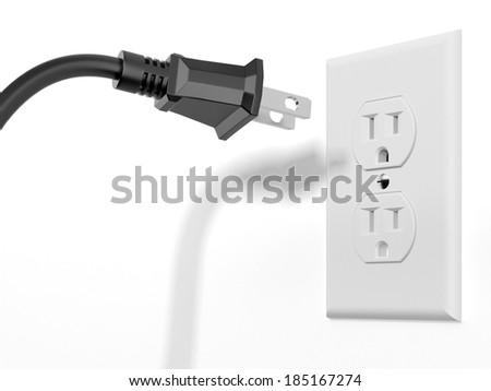 black plug and white socket - stock photo