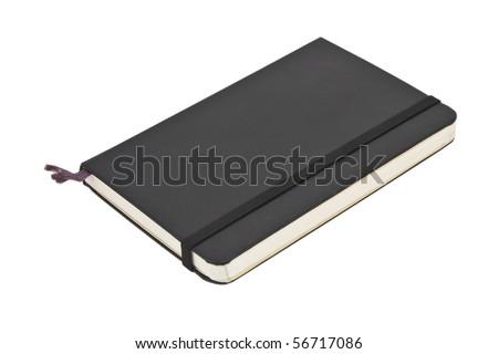 Black pocket journal on white - stock photo
