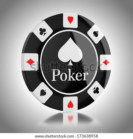 Black poker chip - stock photo