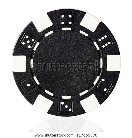 Black poker chip isolated on white - stock photo
