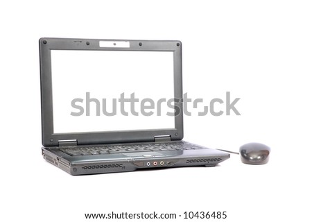 Black portable computer with the white screen