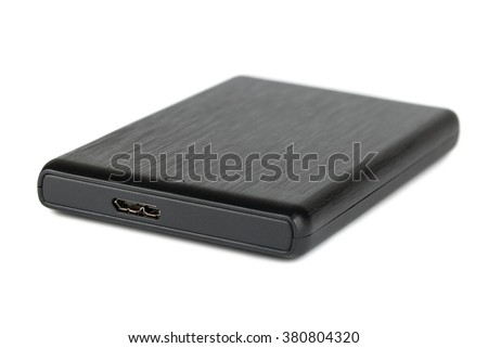 Black portable hard disk isolated on white background