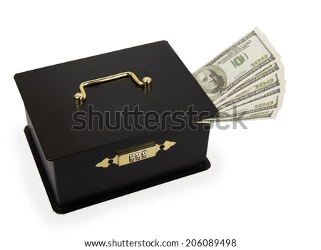 Black portable safe with dollars isolated on white background - stock photo