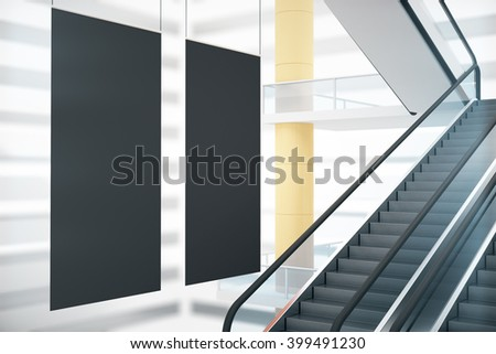 Black posters in interior design with stairs. Mock up, 3D Rendering