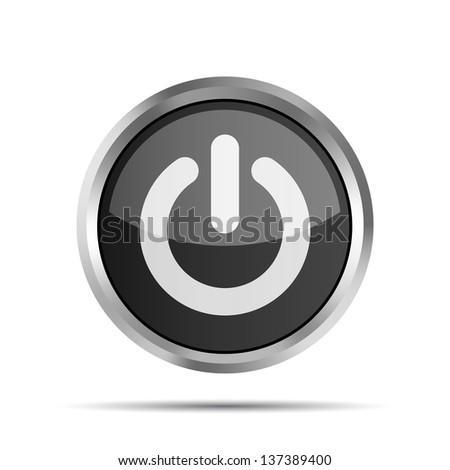 black power button icon on ta white background - stock photo