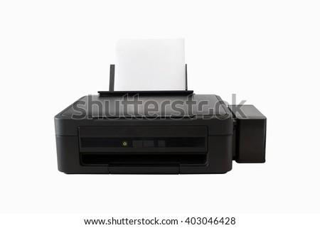 Black printer isolated. Modern printer. Paper printer. Office printer. Technology printer. Laser printer. Digital printer. Ink printer. Cmyk printer. Scanner machine. Paper scanner. Digital scanner. - stock photo