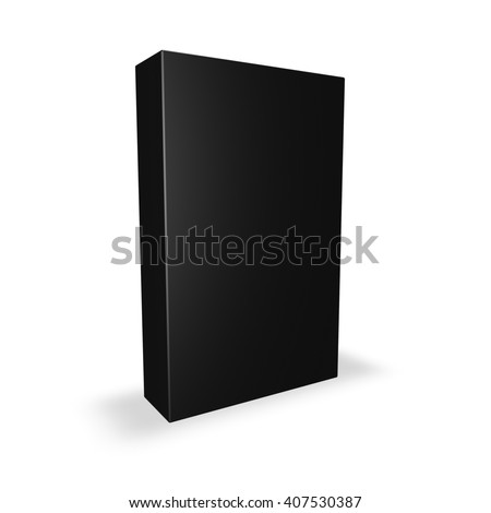 Black product box with blank cover isolated on white with shadow, 3D illustration.