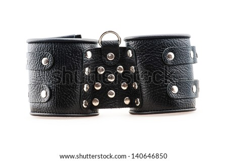 black professional handcuffs isolated on white background - stock photo