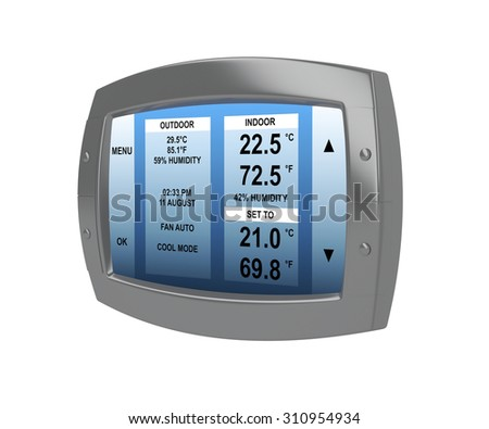 Black programmable digital thermostat isolated on white background