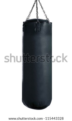 black Punching bag for boxing or kick boxing sport, isolated on white background. - stock photo
