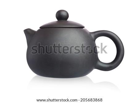 Black Purple Chinese Kungfu TeaPot isolated on white background - stock photo