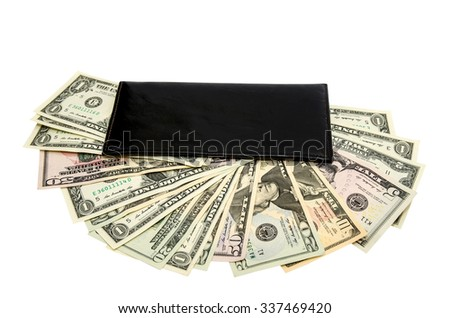 black purse with dollars isolated on white background - stock photo