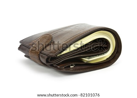 black purse with the big pack of dollars - stock photo
