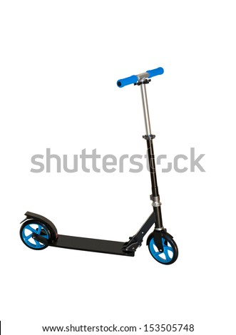 Black push scooter on white. Clipping path included - stock photo