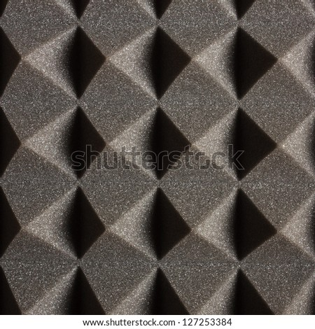Black Pyramidal Acoustic Foam Texture - stock photo