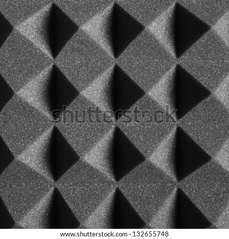 Black Pyramidal Acoustic Foam Texture, Background, Pattern - stock photo