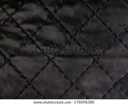 Black quilted leather backgound close up