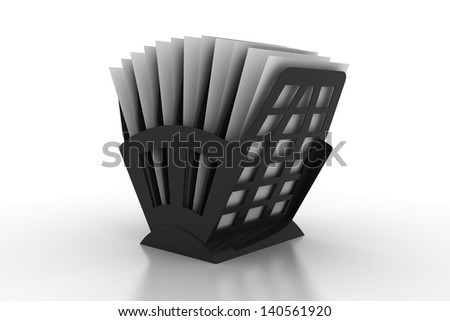 Black rack with papers isolated on white background. - stock photo
