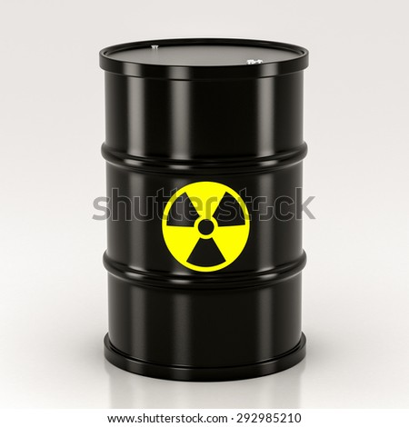 black radioactive barrel on a white background